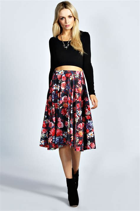 boohoo tartan floral print midi skirt in multi ebay