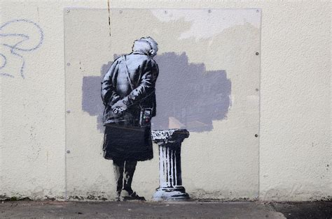 Dog Wall Murals banksy art in folkestone vandalised by graffiti news