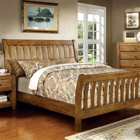 Bed Frame Styles by Conrad Country Style Rustic Oak Finish Bed Frame Set Ebay
