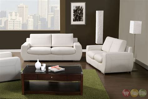 Modern Living Room Set Tekir Contemporary White Living Room Set With Bonded Leather Sm6032