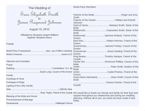 free downloadable wedding program template that can be printed wedding program template 64 free word pdf psd