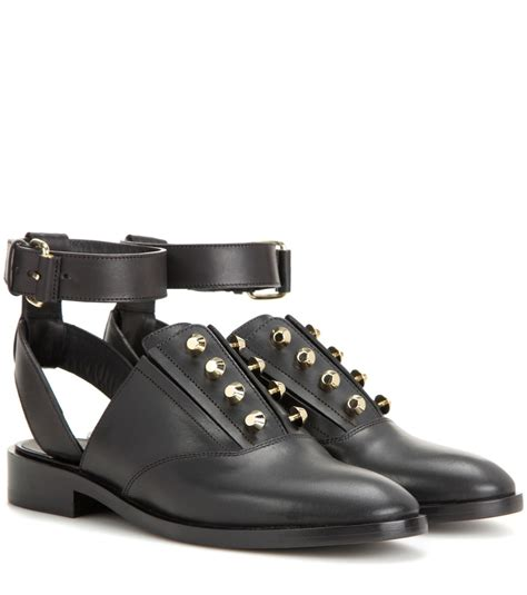 open oxford shoes balenciaga open back leather oxford shoes in black