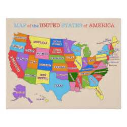 multi colored map of the united states print zazzle