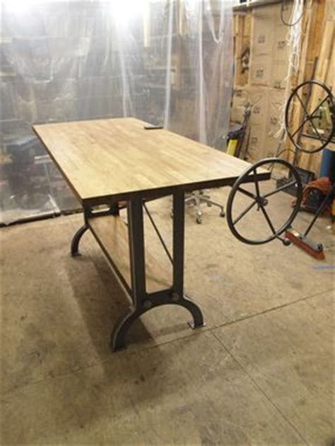 Stand Up Drafting Table Custom Stand Up Industrial Drafting Table With Oak Top By Cosironworks Custommade