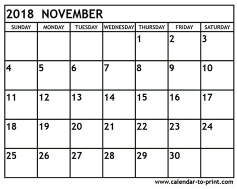 Calendar Nov 2018 November 2018 Calendar Yearly Printable Calendar