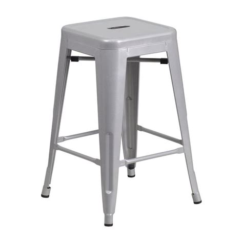 strong bar stools flash furniture 24 quot backless silver metal counter height