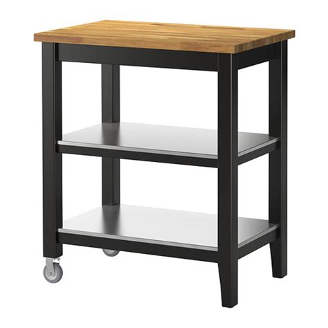 kitchen cart black brown oak