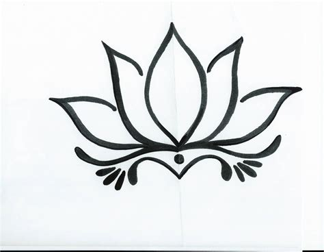 Lotus Black And White Outline by 18 Simple Lotus Tattoos Pictures