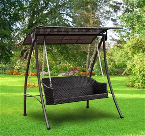 swing bench uk outsunny rattan 3 seater garden swing bench bed in brown
