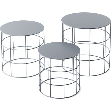 Atipico Set Of 3 Reton Rounded Coffee Tables Ash Gray Coffee Table Set Of 3