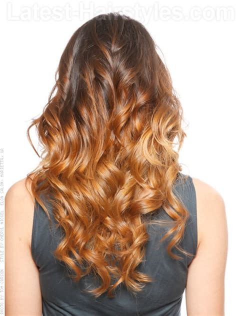 curly hairstyles for long hair back view ombre hair back view