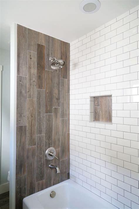 farmhouse bathroom renovation wood tile shower bathroom