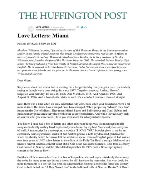 Divorce Letter Huffington Post the huffington post letter to miami 10 15 2014 by