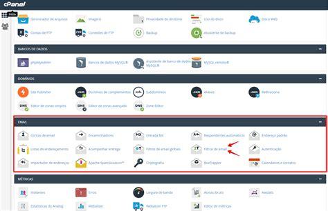 tutorial web c cpanel filtro email ajuda minas online