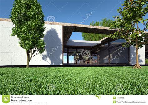 terrazzo in inglese bungalow con il terrazzo ed il prato inglese illustrazione