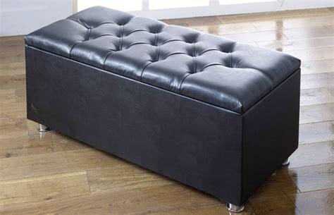 black faux leather ottoman ottoman storage blanket box in faux leather