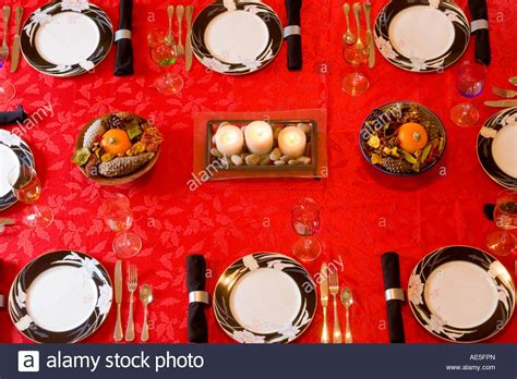 dining room place settings aerial view of a dining room table place settings with