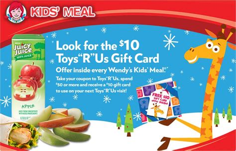 Can U Buy Amazon Gift Cards At Walmart - free 10 toys r us gift card coupon in wendy s kids meals