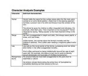 Character Analysis Essay Exle by Sle Character Analysis Template 10 Free Documents In Pdf Word