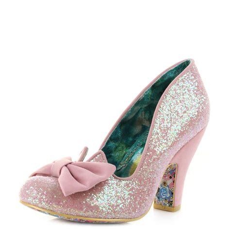 womens irregular choice nick of time pink high heel court