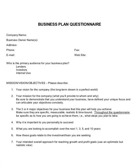 business plan questionnaire template image collections