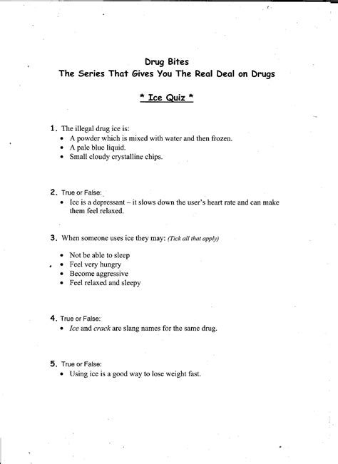 printable drugs quiz 16 best images of free printable drug worksheets drug