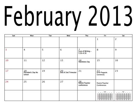 Feb 2013 Calendar Free Printable Calendar Free Printable Calendar February