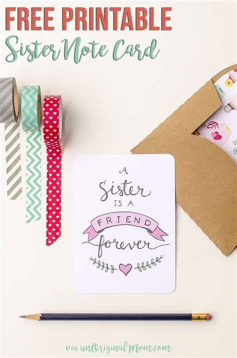 printable birthday cards for a sister free printable sister valentine note card unoriginal mom