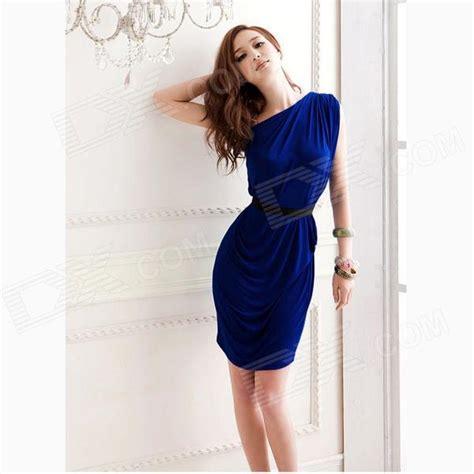 Sherpani Uno Blue One Size uno hombro arrugado el vestido delgado zafiro azul