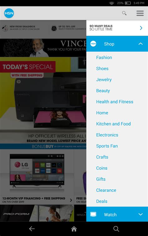 hsn app for android hsn tablet shop app appstore for android