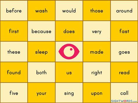 sight words bingo card template word bingo printable