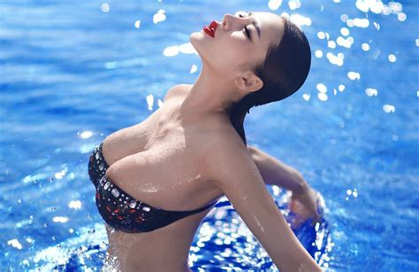 hair sticking out of japanese swimsuit women asian closed eyes big boobs wet body wet
