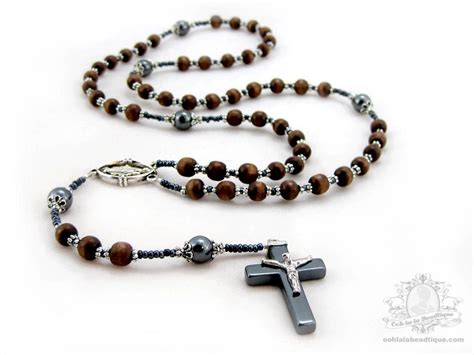 Mens Rosary Necklace Wood Rosaries Boys Rosary Wooden