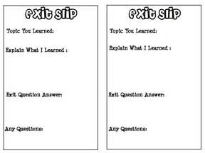 classroom exit ticket template teachers united exit slips for student lesson reflections
