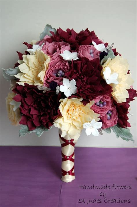 How To Make 100 Paper Flowers - paper flower wedding bouquet burgundy fall colors 160