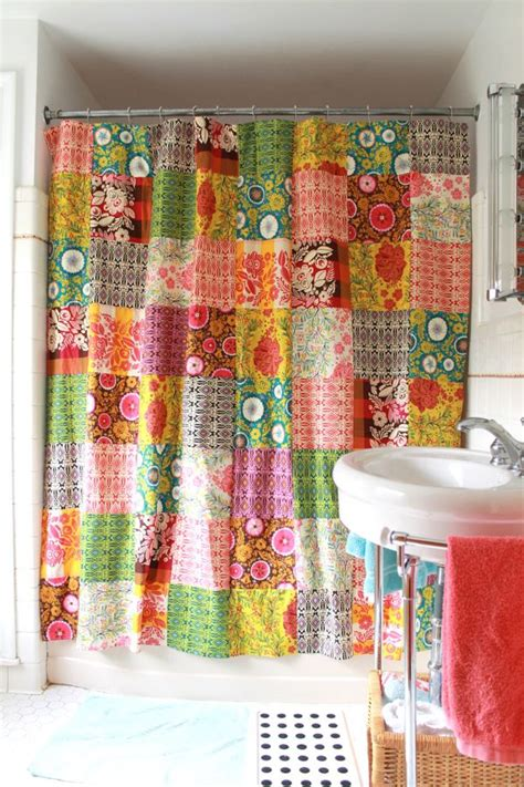 Patchwork Shower Curtains - patchwork folks shower curtain blogged www made by
