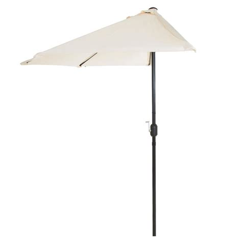 Patio Half Umbrella Garden 9 Ft Half Patio Umbrella In M150055 The Home Depot
