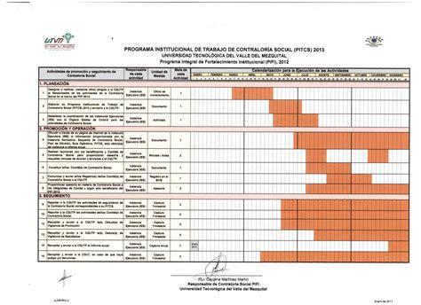formato del plan anual de actividades 2012 picture contralor 237 a social universidad tecnol 243 gica del valle del