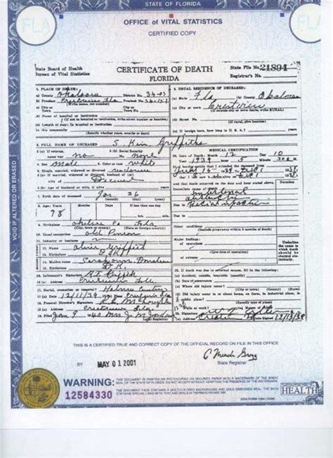 Are Certificates Record In Florida County Certificates And Burials Samuel Ken Griffith