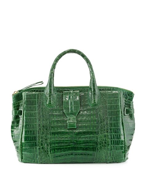 Nancy Gonzalez Latticework Crocodile Tote by Nancy Gonzalez Large Crocodile Tote Bag In Green