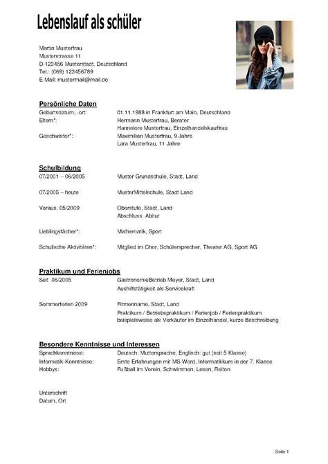 Lebenslauf Beruf Bis Jetzt Lebenslauf Als Sch 252 Ler Dokument Blogs