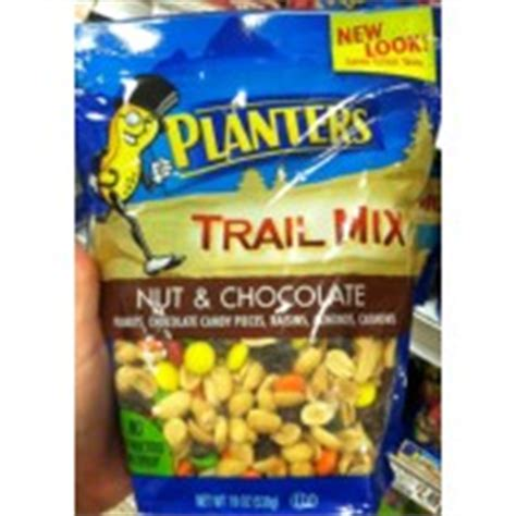 planters trail mix nuts chocolate calories nutrition