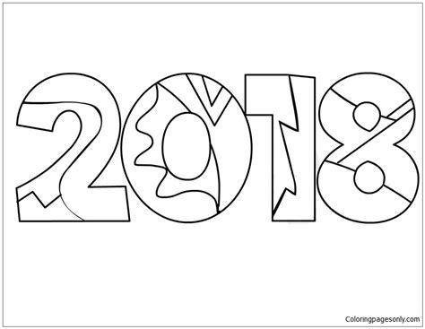 Free Coloring Page 2018 by 2018 New Year Coloring Page Free Coloring Pages
