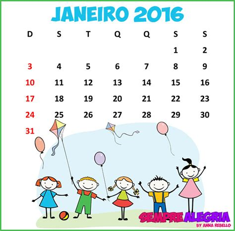 I Calendario Janeiro 2016 Calendario Janeiro 2016 Calendar Template 2016
