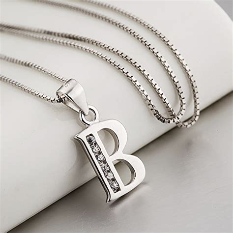 S925 Necklace s925 sterling silver cubic zirconia 26 letters alphabet