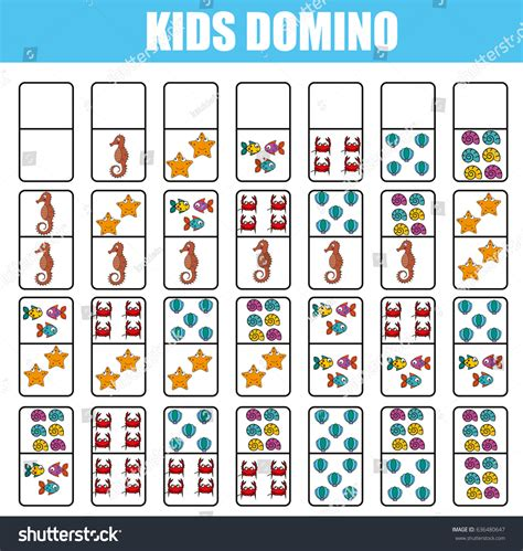 logic board games printable domino kids children educational game printable stock