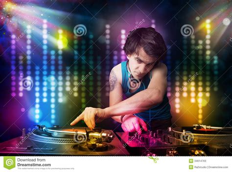 songs for light shows dj songs in a disco with light show stock photos
