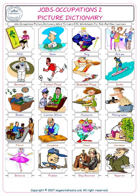 free printable english worksheets occupations free esl jobs and occupations worksheets for kindergarten