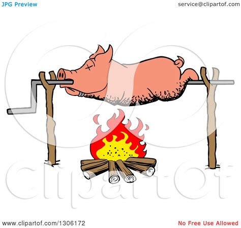 clipart of a cartoon dead pig roasing on a spit over a