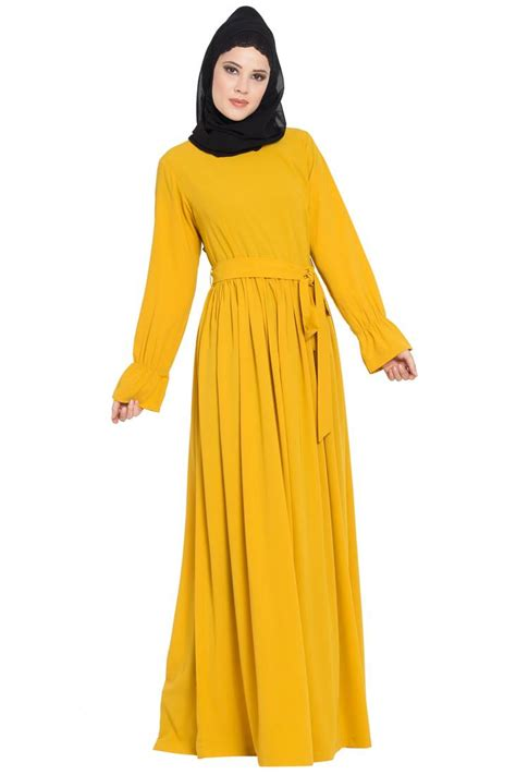 mustard nida simple   elegant dress abaya